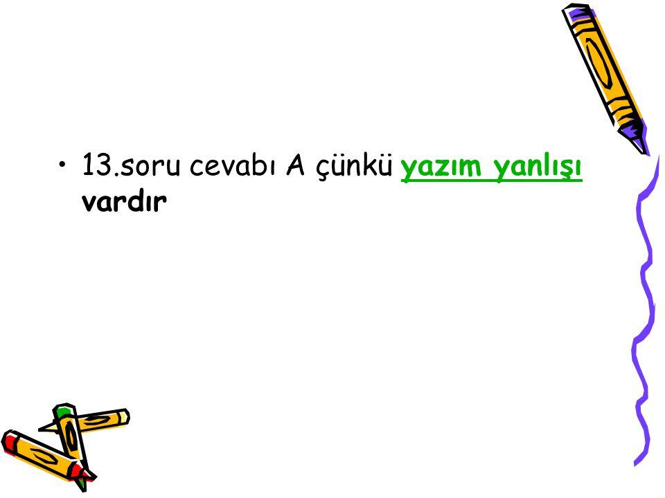 13.soru cevabı A çünkü yazım yanlışı vardır