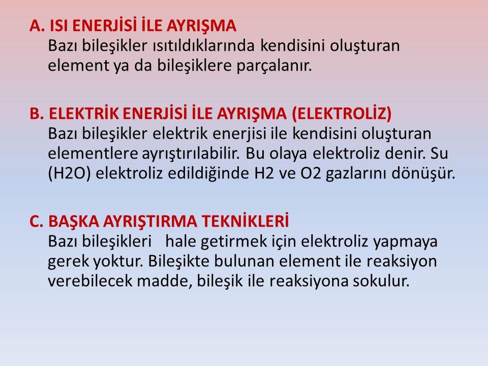 A. ISI ENERJİSİ İLE AYRIŞMA Bazı bileşikler ısıtıldıklarında kendisini oluşturan element ya da bileşiklere parçalanır.