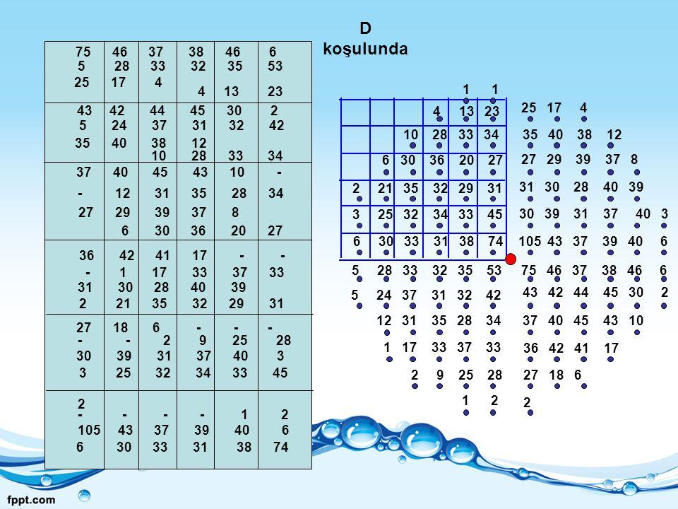 D koşulunda 75 46 37 38 46 6. 5 28 33 32 35 53.