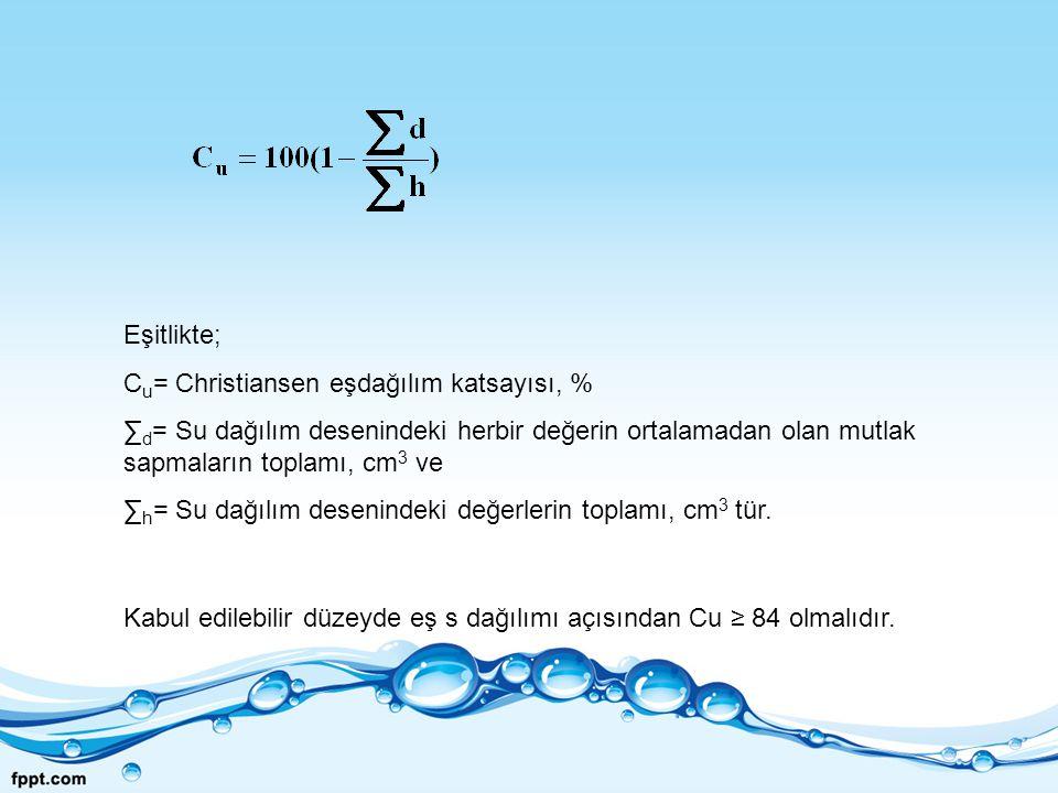 Eşitlikte; Cu= Christiansen eşdağılım katsayısı, % ∑d= Su dağılım desenindeki herbir değerin ortalamadan olan mutlak sapmaların toplamı, cm3 ve.