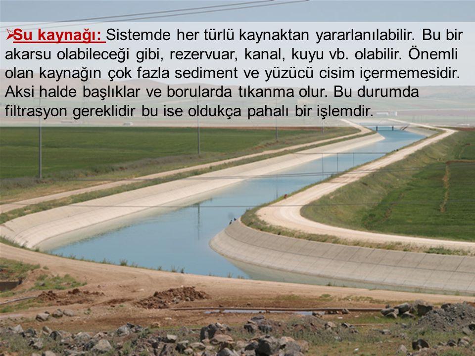 Su kaynağı: Sistemde her türlü kaynaktan yararlanılabilir