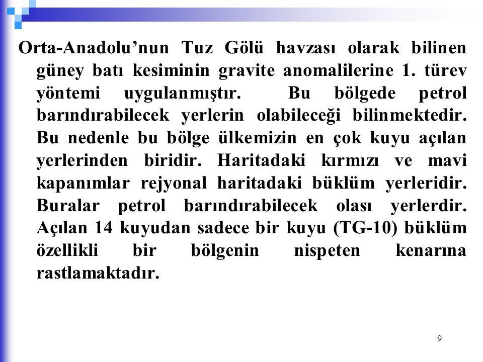Orta-Anadolu'nun Tuz Gölü havzası olarak bilinen güney batı kesiminin gravite anomalilerine 1.