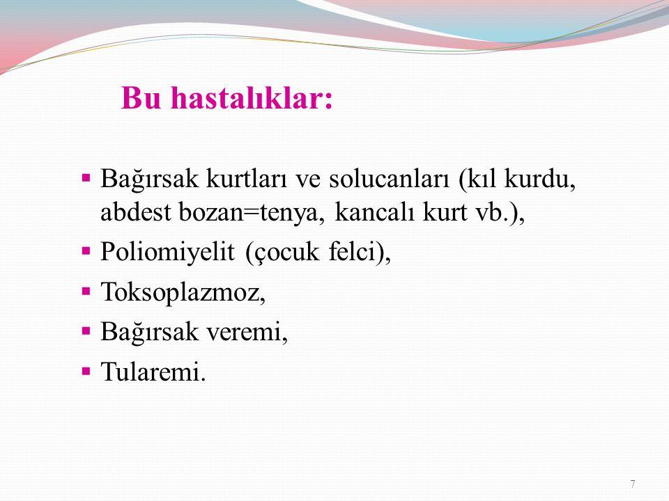 Bu hastalıklar: Bağırsak kurtları ve solucanları (kıl kurdu, abdest bozan=tenya, kancalı kurt vb.),