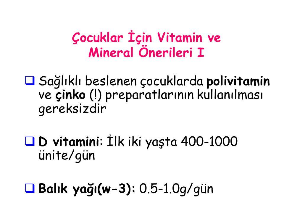 Çocuklar İçin Vitamin ve Mineral Önerileri I