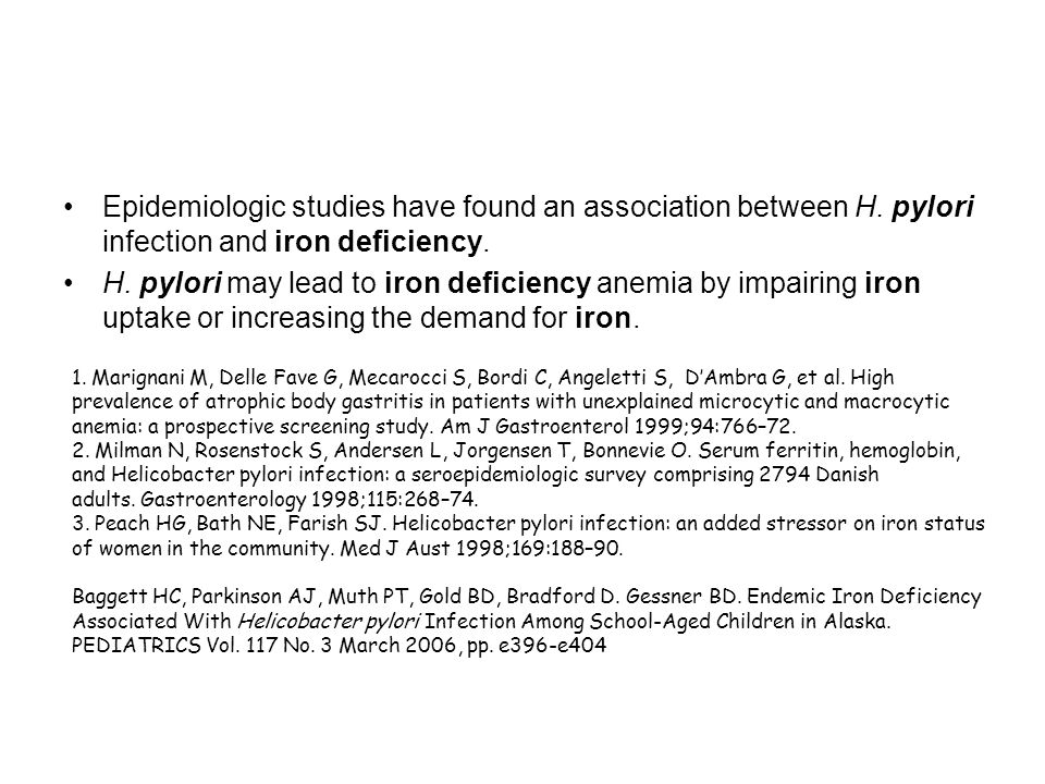 Epidemiologic studies have found an association between H