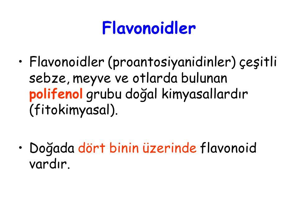 Flavonoidler Flavonoidler (proantosiyanidinler) çeşitli sebze, meyve ve otlarda bulunan polifenol grubu doğal kimyasallardır (fitokimyasal).