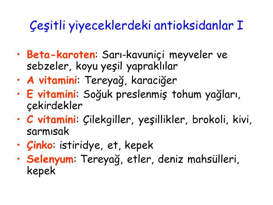 Çeşitli yiyeceklerdeki antioksidanlar I