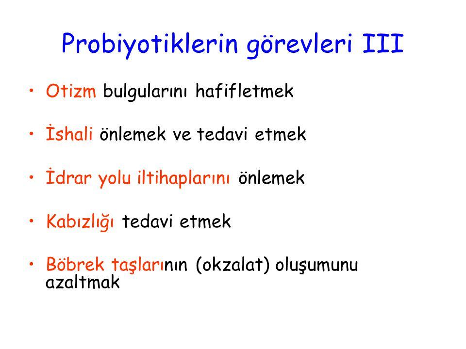 Probiyotiklerin görevleri III