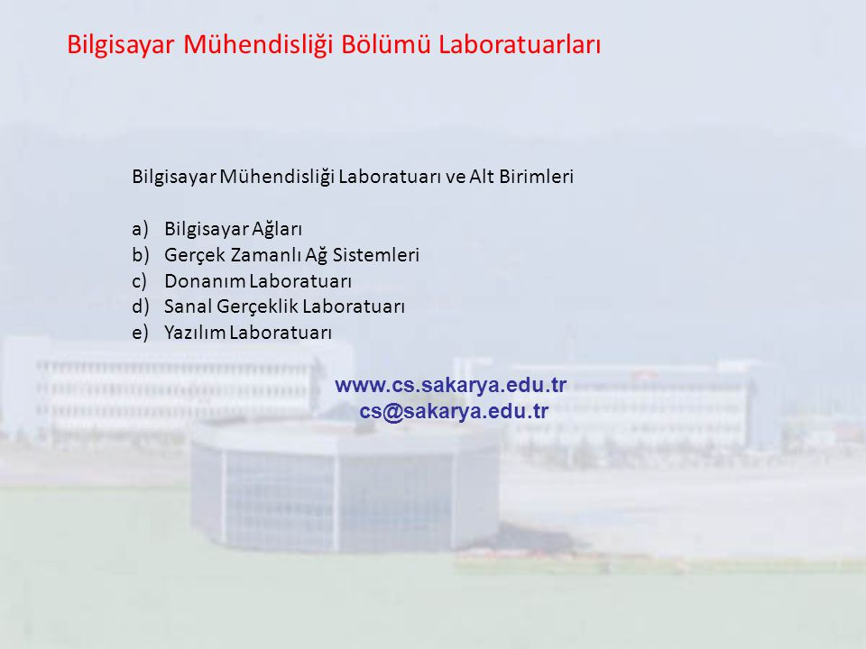 Bilgisayar Mühendisliği Bölümü Laboratuarları