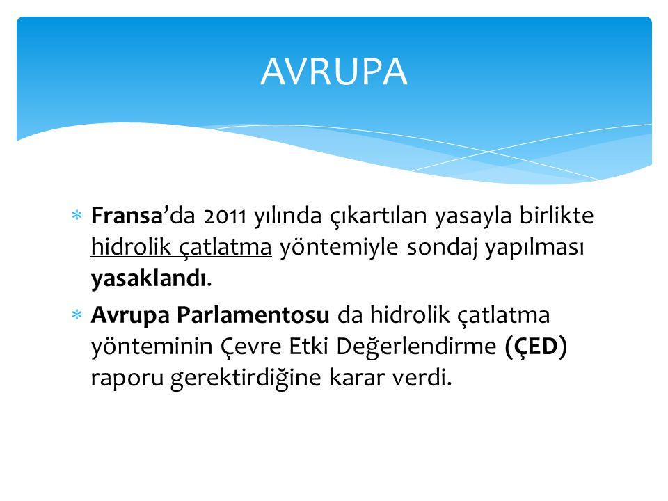 AVRUPA Fransa'da 2011 yılında çıkartılan yasayla birlikte hidrolik çatlatma yöntemiyle sondaj yapılması yasaklandı.