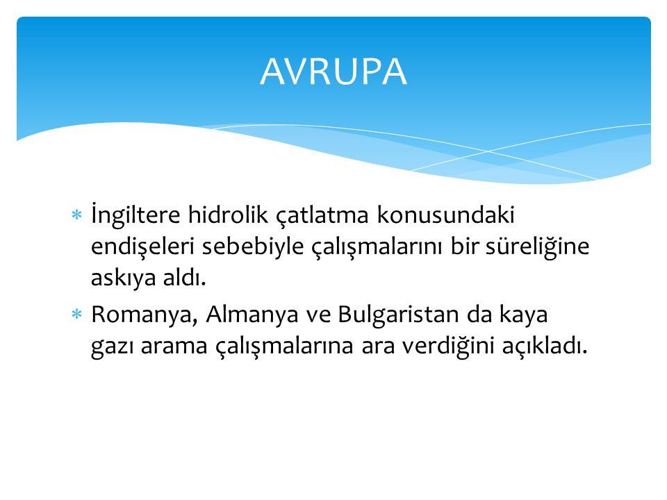 AVRUPA İngiltere hidrolik çatlatma konusundaki endişeleri sebebiyle çalışmalarını bir süreliğine askıya aldı.