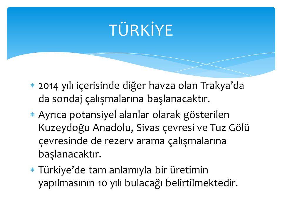 TÜRKİYE 2014 yılı içerisinde diğer havza olan Trakya'da da sondaj çalışmalarına başlanacaktır.