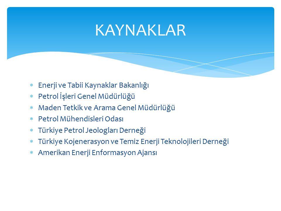 KAYNAKLAR Enerji ve Tabii Kaynaklar Bakanlığı
