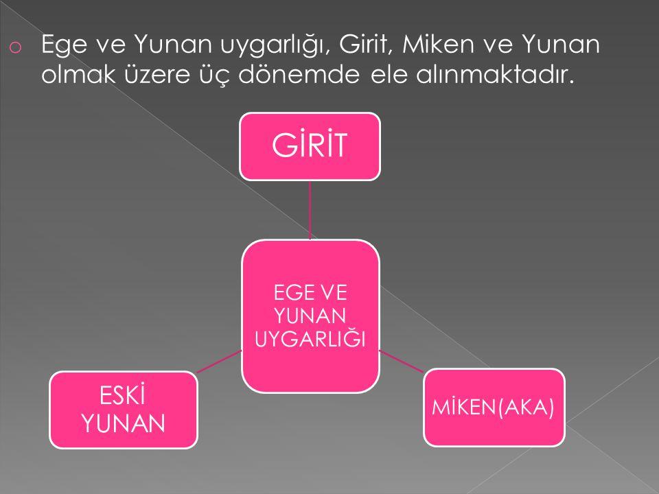 Ege ve Yunan uygarlığı, Girit, Miken ve Yunan olmak üzere üç dönemde ele alınmaktadır.