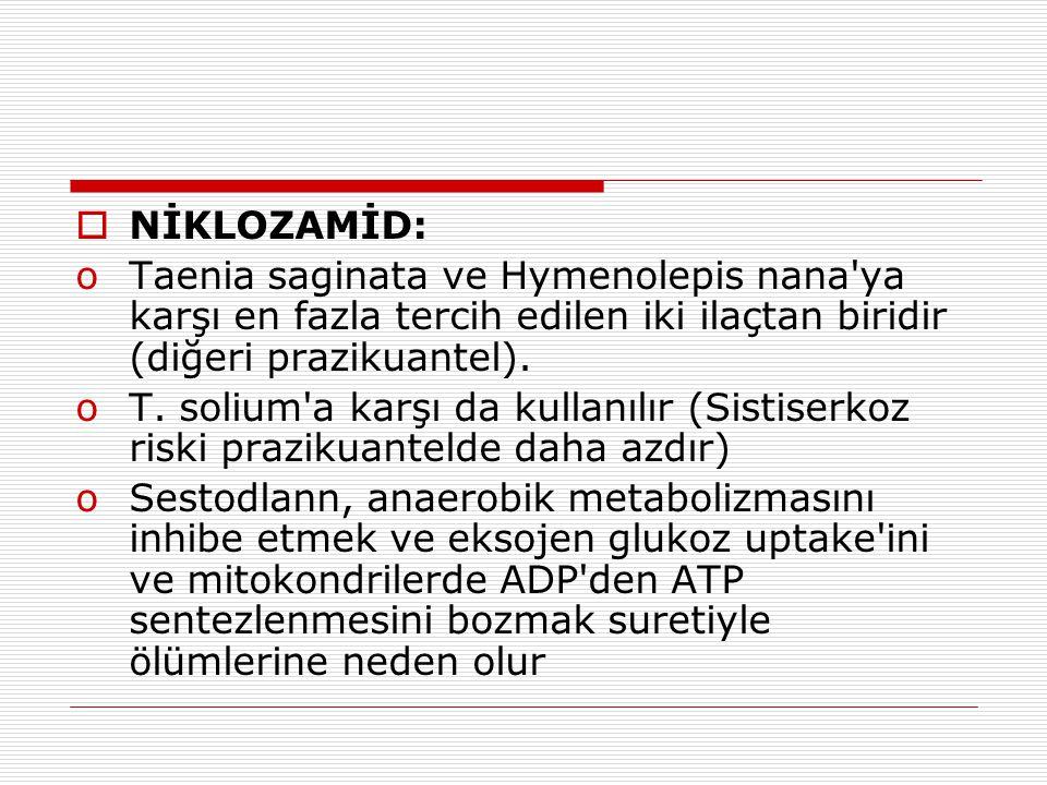 NİKLOZAMİD: Taenia saginata ve Hymenolepis nana ya karşı en fazla tercih edilen iki ilaçtan biridir (diğeri prazikuantel).