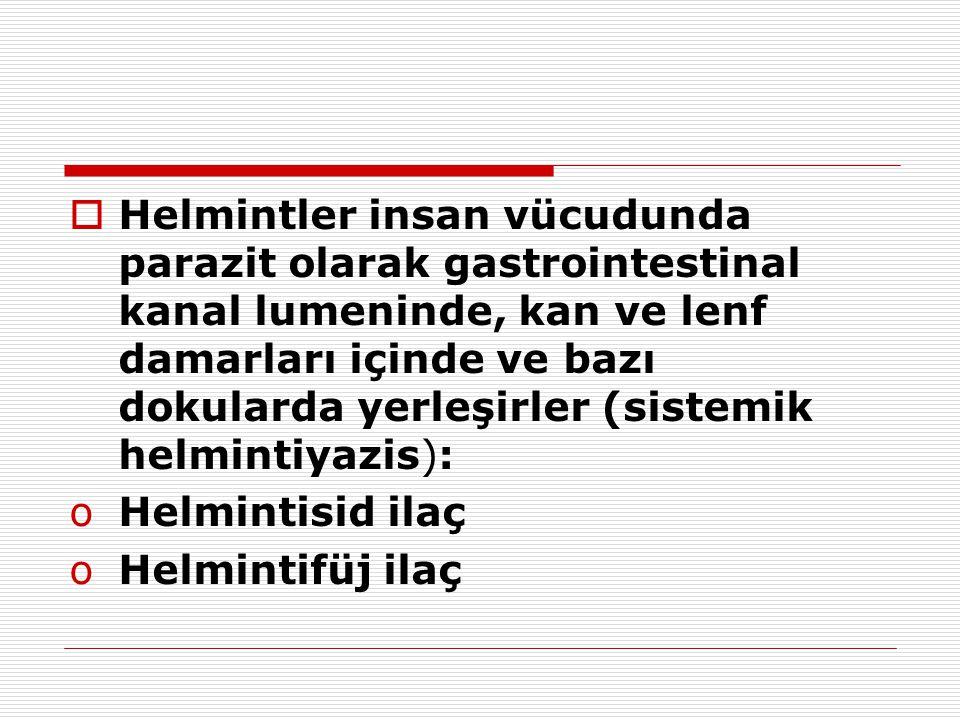 Helmintler insan vücudunda parazit olarak gastrointestinal kanal lumeninde, kan ve lenf damarları içinde ve bazı dokularda yerleşirler (sistemik helmintiyazis):