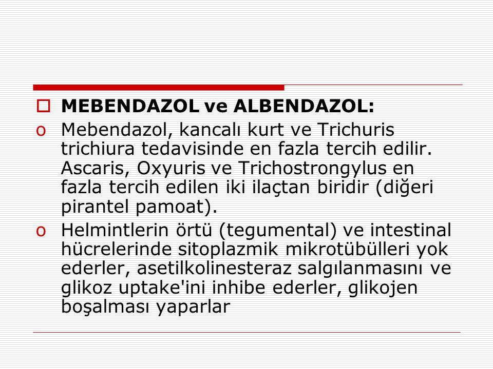 MEBENDAZOL ve ALBENDAZOL: