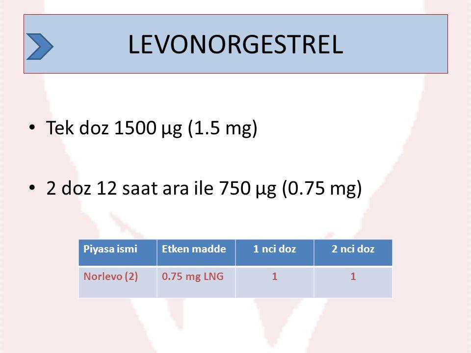 LEVONORGESTREL LEVONORGESTREL Tek doz 1500 µg (1.5 mg)