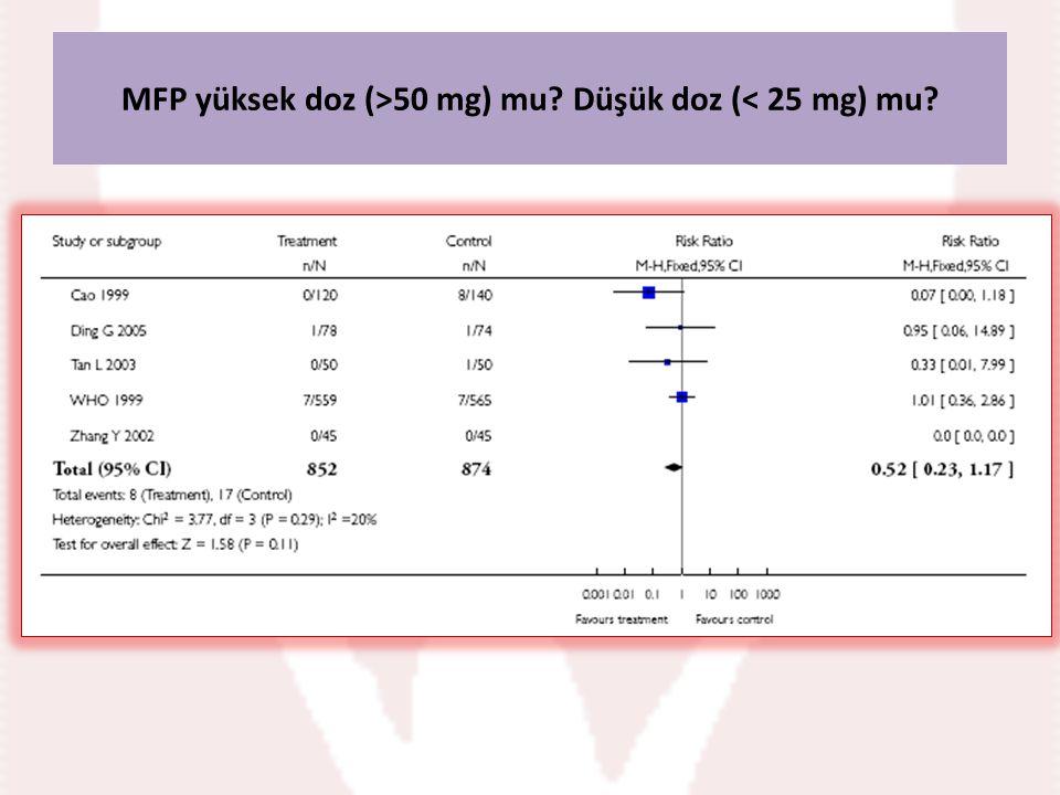 MFP yüksek doz (>50 mg) mu Düşük doz (< 25 mg) mu