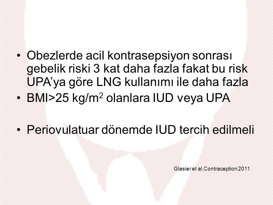 BMI>25 kg/m2 olanlara IUD veya UPA