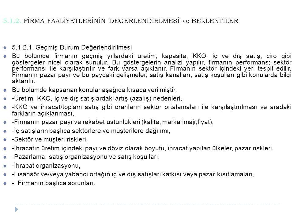 5.1.2. FİRMA FAALİYETLERİNİN DEGERLENDIRLMESİ ve BEKLENTILER