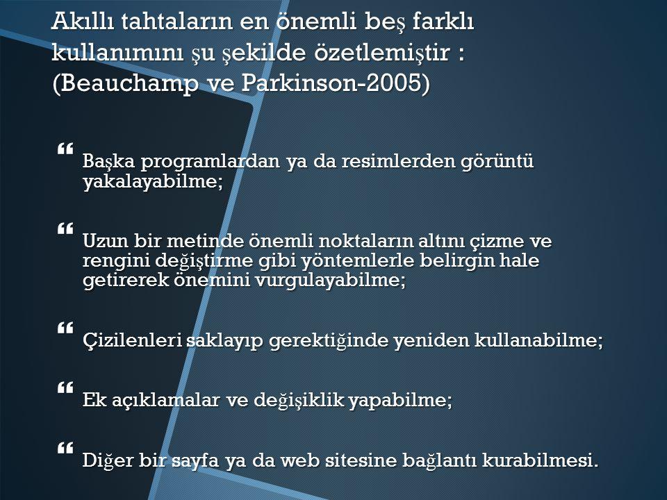 Akıllı tahtaların en önemli beş farklı kullanımını şu şekilde özetlemiştir : (Beauchamp ve Parkinson-2005)