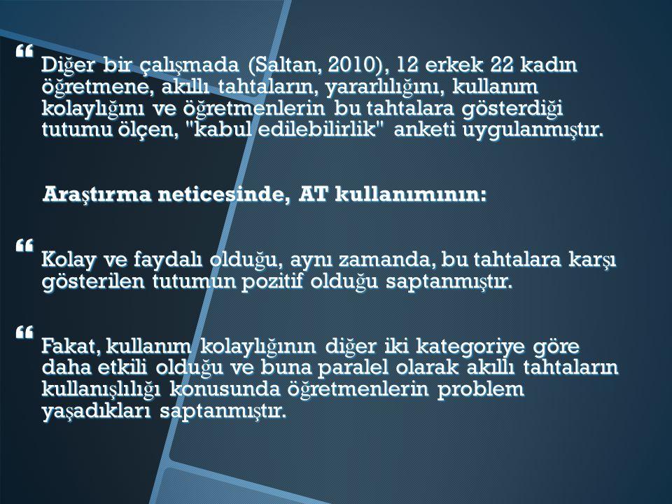 Diğer bir çalışmada (Saltan, 2010), 12 erkek 22 kadın öğretmene, akıllı tahtaların, yararlılığını, kullanım kolaylığını ve öğretmenlerin bu tahtalara gösterdiği tutumu ölçen, kabul edilebilirlik anketi uygulanmıştır.