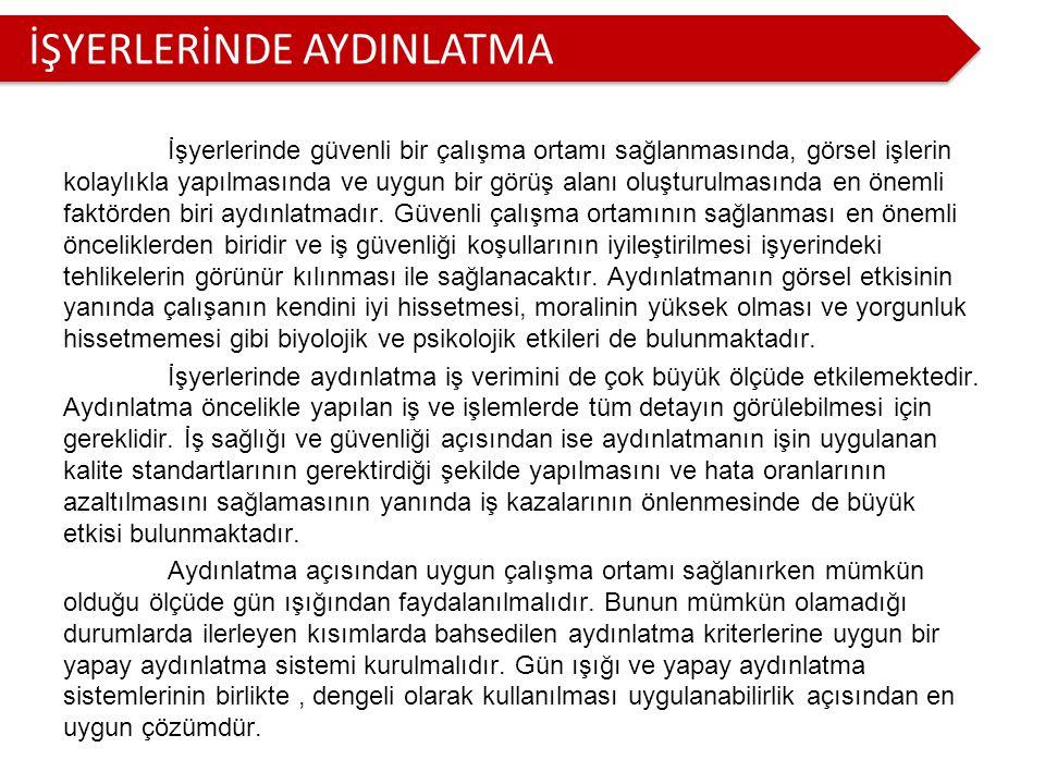 İŞYERLERİNDE AYDINLATMA