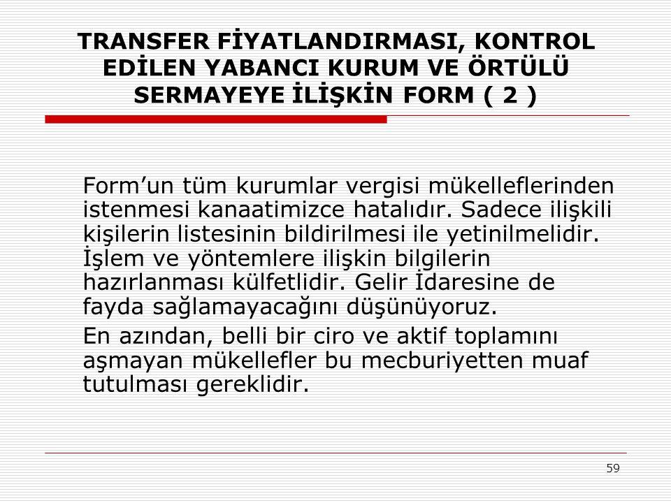 TRANSFER FİYATLANDIRMASI, KONTROL EDİLEN YABANCI KURUM VE ÖRTÜLÜ SERMAYEYE İLİŞKİN FORM ( 2 )