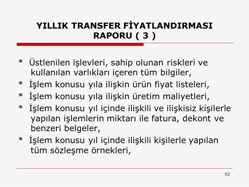 YILLIK TRANSFER FİYATLANDIRMASI RAPORU ( 3 )
