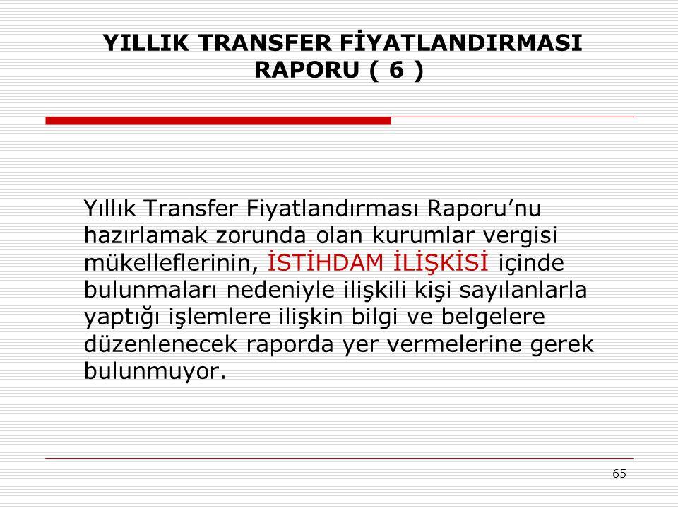 YILLIK TRANSFER FİYATLANDIRMASI RAPORU ( 6 )