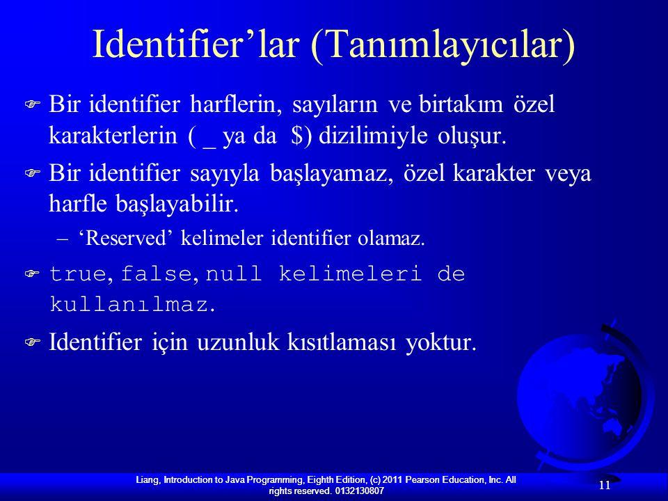 Identifier'lar (Tanımlayıcılar)