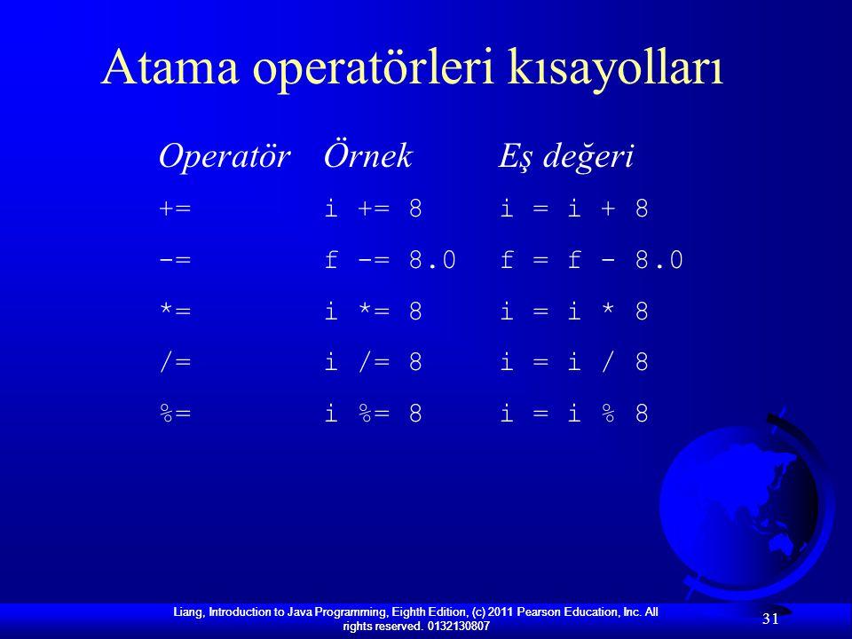 Atama operatörleri kısayolları