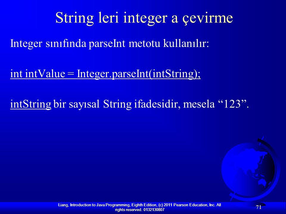 String leri integer a çevirme
