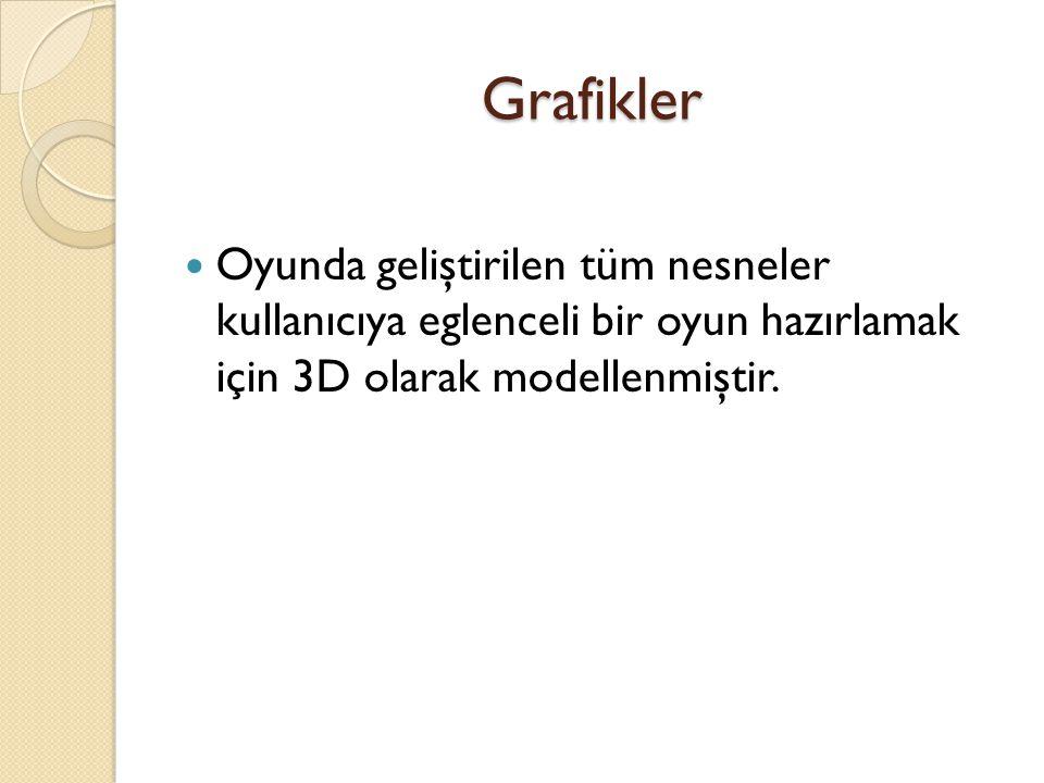Grafikler Oyunda geliştirilen tüm nesneler kullanıcıya eglenceli bir oyun hazırlamak için 3D olarak modellenmiştir.