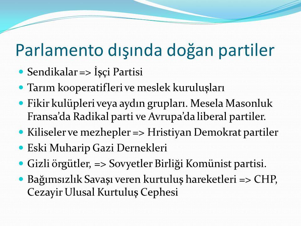 Parlamento dışında doğan partiler