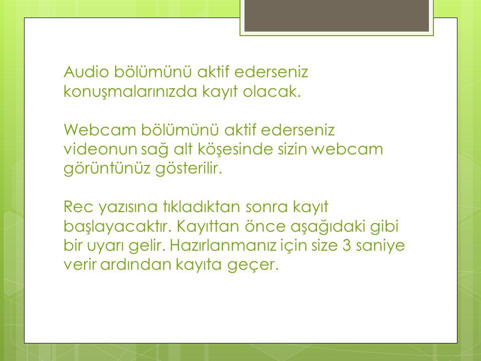 Audio bölümünü aktif ederseniz konuşmalarınızda kayıt olacak