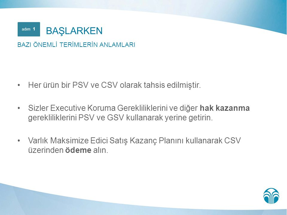 BAŞLARKEN Her ürün bir PSV ve CSV olarak tahsis edilmiştir.