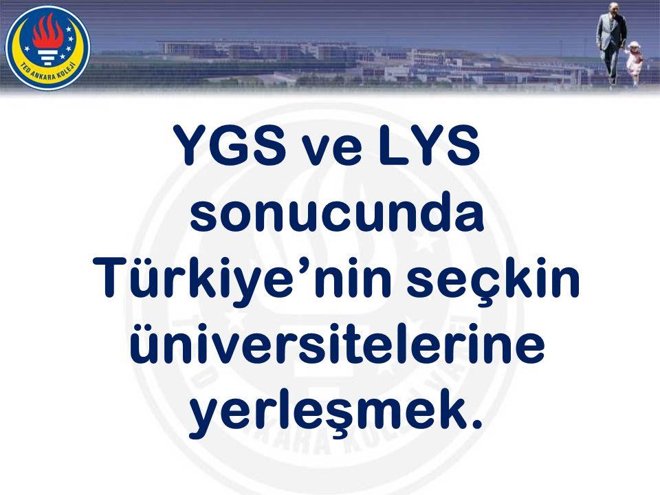 YGS ve LYS sonucunda Türkiye'nin seçkin üniversitelerine yerleşmek.