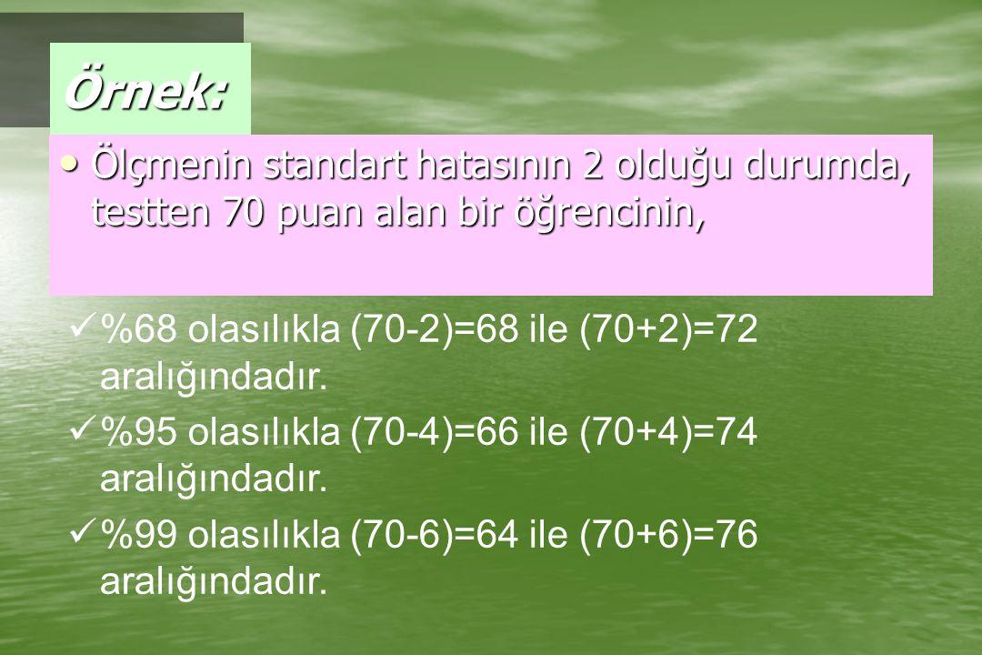 Örnek: Ölçmenin standart hatasının 2 olduğu durumda, testten 70 puan alan bir öğrencinin, %68 olasılıkla (70-2)=68 ile (70+2)=72 aralığındadır.