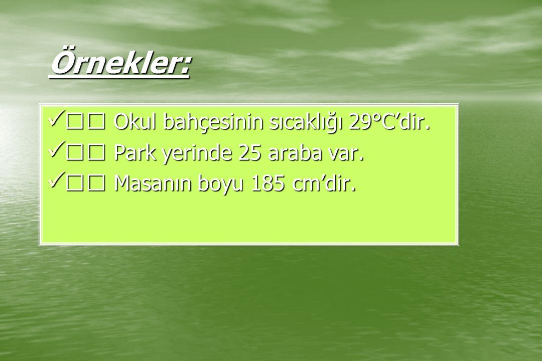 Örnekler:  Okul bahçesinin sıcaklığı 29°C'dir.