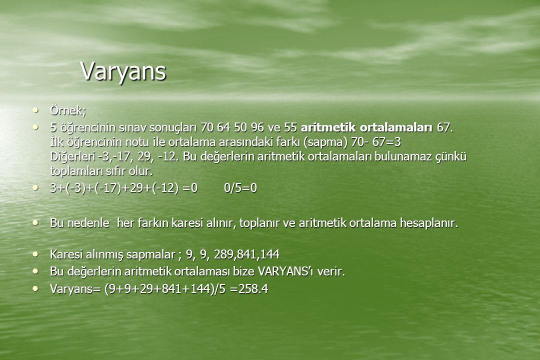 Varyans Örnek;