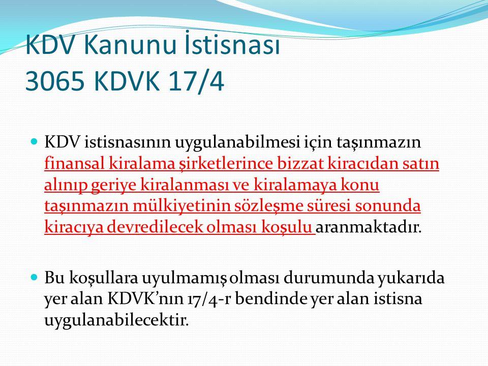 KDV Kanunu İstisnası 3065 KDVK 17/4