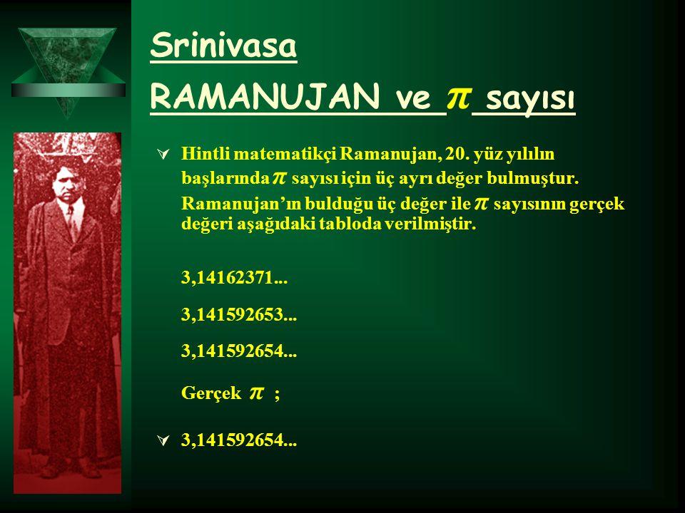 Srinivasa RAMANUJAN ve π sayısı
