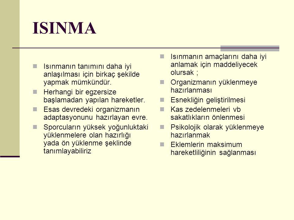 ISINMA Isınmanın tanımını daha iyi anlaşılması için birkaç şekilde yapmak mümkündür. Herhangi bir egzersize başlamadan yapılan hareketler.