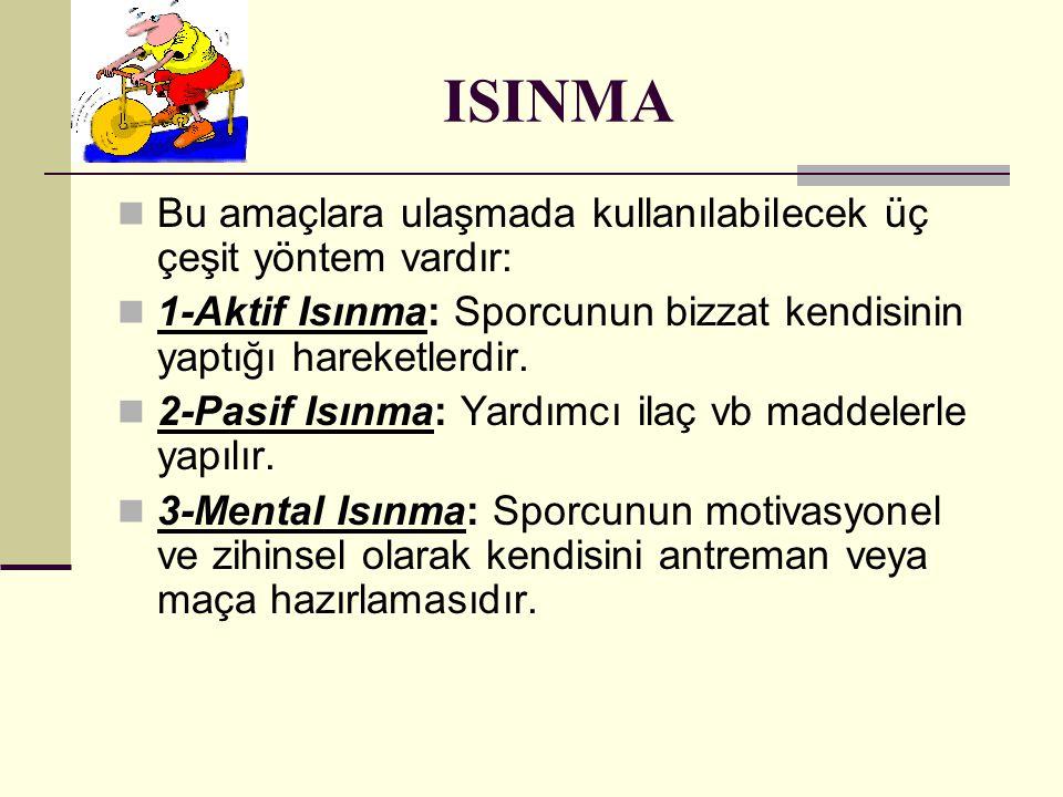 ISINMA Bu amaçlara ulaşmada kullanılabilecek üç çeşit yöntem vardır: