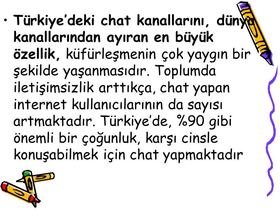 Türkiye'deki chat kanallarını, dünya kanallarından ayıran en büyük özellik, küfürleşmenin çok yaygın bir şekilde yaşanmasıdır.