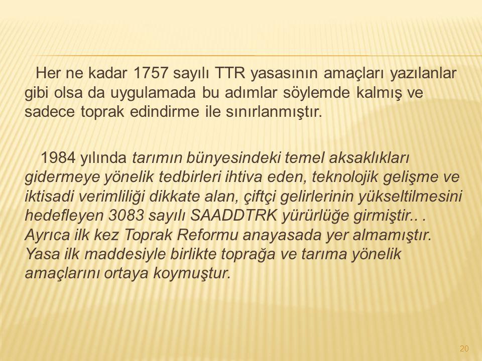Her ne kadar 1757 sayılı TTR yasasının amaçları yazılanlar gibi olsa da uygulamada bu adımlar söylemde kalmış ve sadece toprak edindirme ile sınırlanmıştır.