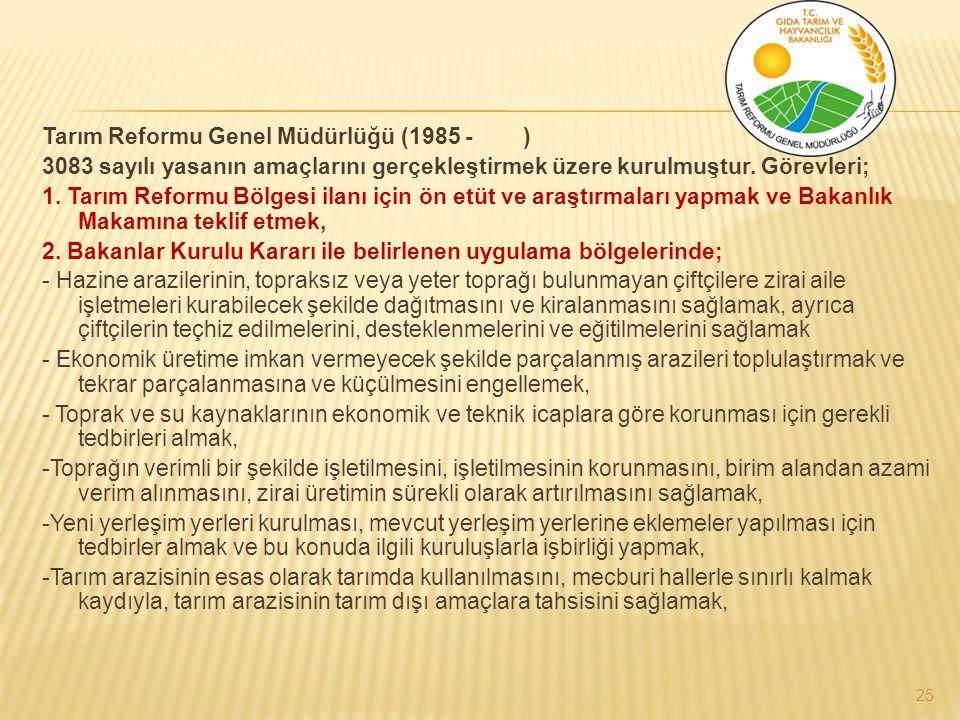 Tarım Reformu Genel Müdürlüğü (1985 - ) 3083 sayılı yasanın amaçlarını gerçekleştirmek üzere kurulmuştur.