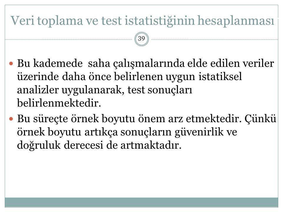 Veri toplama ve test istatistiğinin hesaplanması